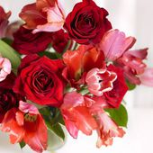 Red rose and tulips bouquet