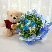 Teddy Bear and Blue rose bouquet