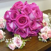 Purple Wedding Bouquet & Mini Rose Bouts