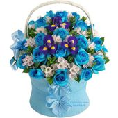 Blue roses and fresh irises