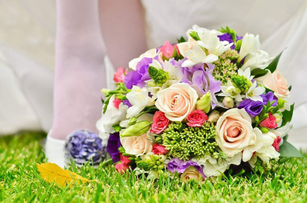 Colourful bridal bouquet