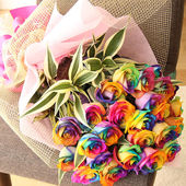A bunch of unusual rainbow roses