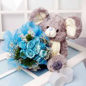 Blue rose bouquet and Teddy
