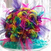 Beautiful rainbow rose bouquet