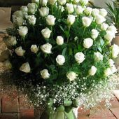 Huge white rose bouquet