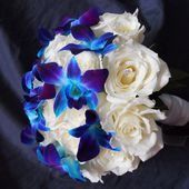 Blue orchids and white roses