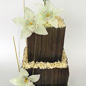 Chocolate orchid wedding cake