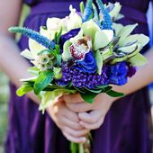 Blue and white orchid bouquet