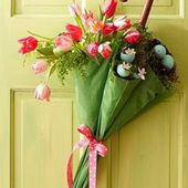 Spring umbrella tulip arrangement