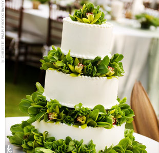 Green orchid cake