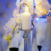Candle & orchids