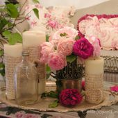 Living room vignette with roses