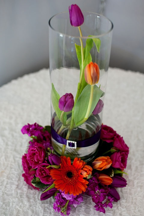 Tulips with ring of flowers