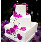 Purple orchid wedding cake