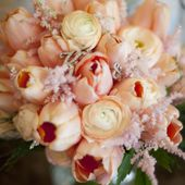 Peach tulip and ranunculus bouquet