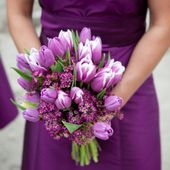 Gorgeous purple tulip and lilac bouquet