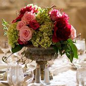 Pink and red rose centerpiece