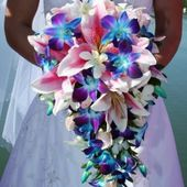 Cascading lily and orchid bouquet