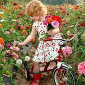 Cute Baby in Flower Field