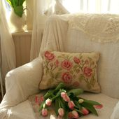 Pink tulips on an armchair