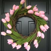Pink Tulip Door Wreath