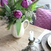 Purple tulip centerpiece