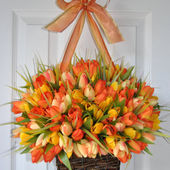 Basket of spring tulips