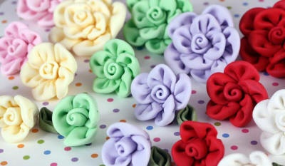 Fondant Fabric Roses cake toppers