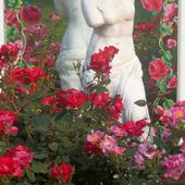 Statue with roses