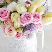A cup of spring flowers
