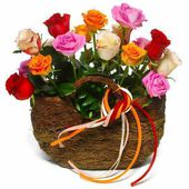 Basket of colorful roses
