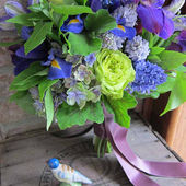Blue, green, and lavender bouquet