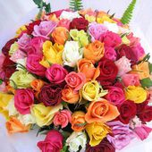 Huge colorful rose bouquet