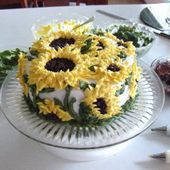 Sunflower cake with buttercream