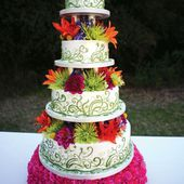 Colorful Flowers and Swirls Cake