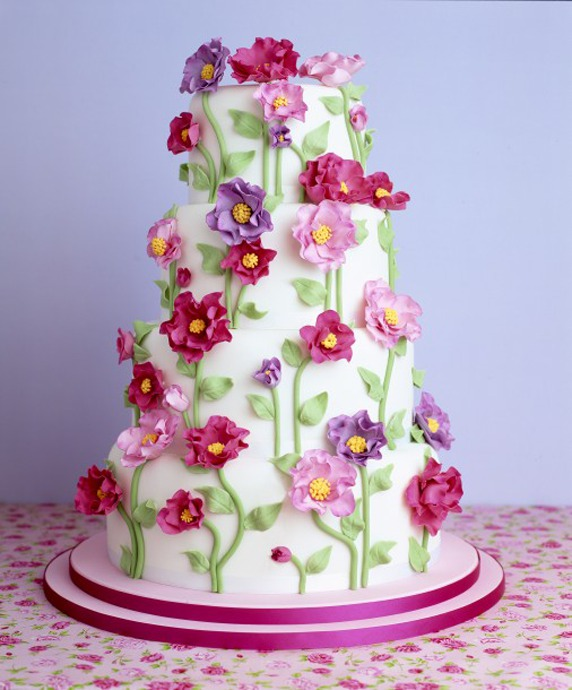 Colorful Peony Flower Cake