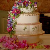 4 Tier Colorful Flower Cake