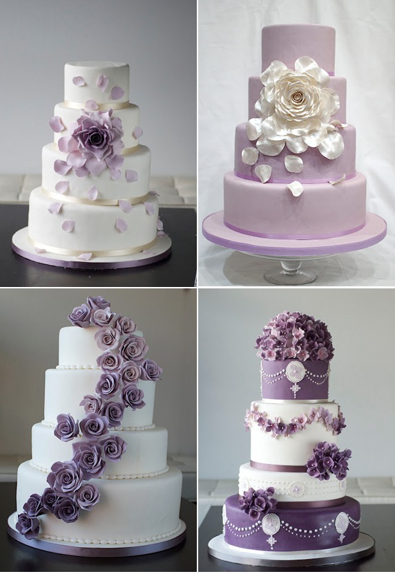 4 Beautiful Purple Accented Wedding Cakes