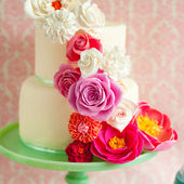 Brightly Colored Flowers Birthday Cake