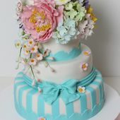 Spring Flowers Bouquet Blue Striped Cake