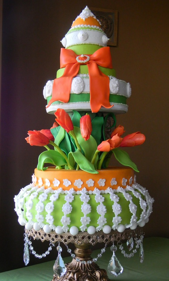 Orange & Green Spring Tulip Cake