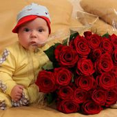 Cute Baby and Beautiful Roses