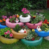 Decorative Old Tire Flower Planters