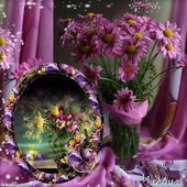 Purple flowers photo frame