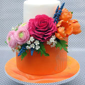 Pretty Orange Cake with Colorful Flowers