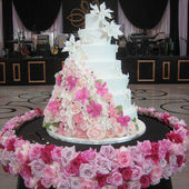 Cake with Cascading Assorted Pink Flowers