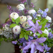 Ranunculus, Sweet Peas, and Clematis