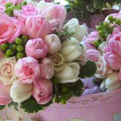 Pink and green flowers arrangement