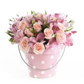 Pink Bouquet in a Flower Pot