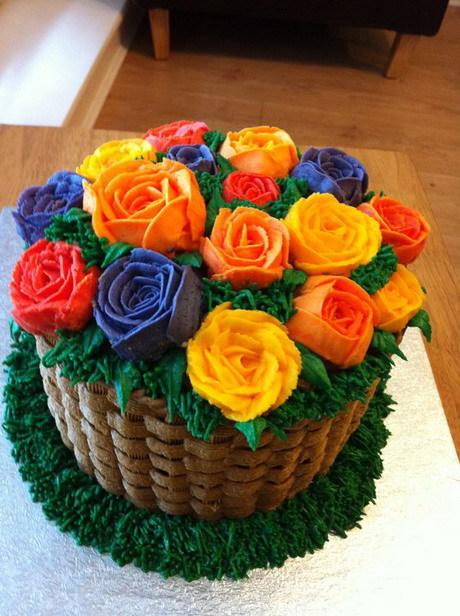 Summery Flower Basket Cake